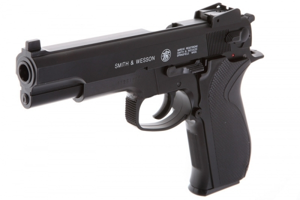 Pistol airsoft Smith & Wesson CyberGun  in varianta HPA (Heavy Powerful Accurate series) arma, jucarie, pusca, bile, 6mm